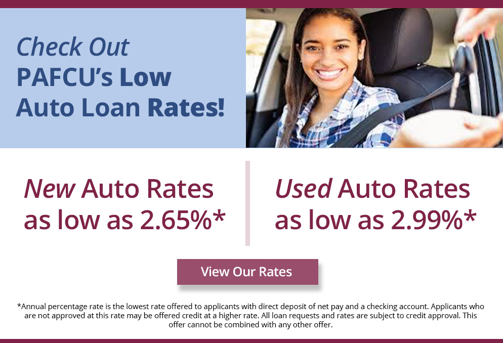 Check Out PAFCU's Low Auto Loan Rates!
